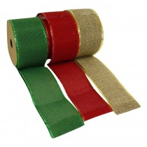Christmas Hessian Ribbon, 3 Assorted