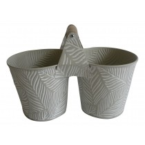 Zinc Duo with handle 22cm*11cm*10.6cm -Grey Leaf pattern