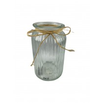Ribbed Hand tie Vase with raffia bow