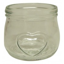 Glass Honey Jar with Embossed Heart