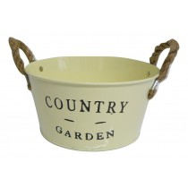 Country Garden Zinc Bowl Cream With Rope Ears