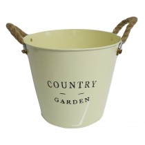 Country Garden Zinc Planter Cream With Rope Ears