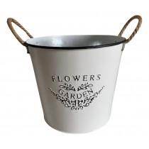 Flower & Garden White Planter with Black Wording With Rope Ears