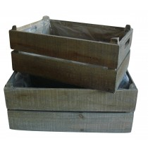 X10051 Panelled Grey Wooden Crate Set (2 Lrg)