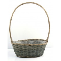 Grey Willow Oval Handled Basket